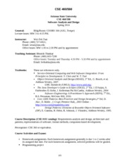 CSE 460 Syllabus Spring 2014 Jan 11