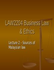 Lecture 2 - Sources of law(2)