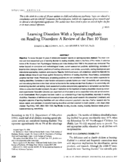 LD with a special emphasis on reading disorders