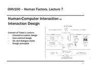 0HV100 - Lecture 7 - Human-Computer Interaction
