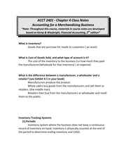 Chp. 4 notes accounting for a merchandising business