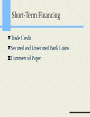 1. Short term financing