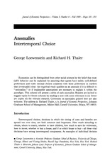 Loewenstein Thaler 1989 JEP Anomalies - Intertemporal Choice