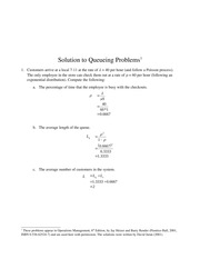 Solutions to Queing Problems Hw Help