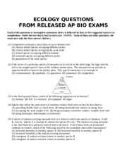 ap biology ecology test essay questions Ap biology review - ecology part 1 read this this is a study guide under the subject of ecology for the ap biology test good luck pt 1 biology.