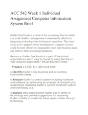 ACC 542 Week 1 Individual Assignment Computer Information System Brief