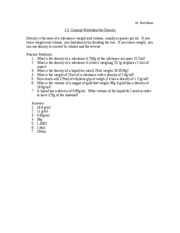 1.5 Concept Worksheet for Density