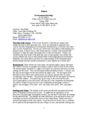 Syllabus for Environmental Sociology 09(2)