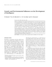 Genetic and Environmental Influences on the Development of Intelligence
