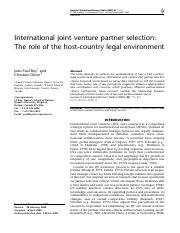 IJV PARTNER SELECTION -ROLE OF HOST COUNTRY LEGAL ENVIRONMENT