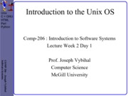 COMP 206 Lecture Week 2 Day 1 - Intro Unix