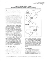 Part IV- What None Knew- Misinterpretation and Failed Diplomacy Reading Homework