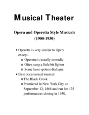 Intro to theater Musical Theater 2