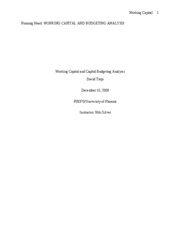 Working Capital and Capital Budgeting Analysis - David Trejo - Week 3 individual paper