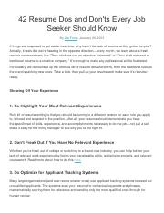 42 Resume Dos and Donts every job seeker should know (1)