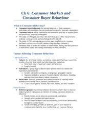 Ch 6 - Consumer Mrkts and Buying Behaviour