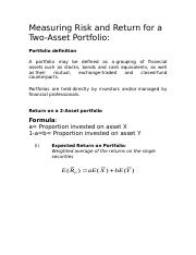 Measuring Risk and Return for a Two asset port