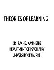 11 Theories of learning lecture MBCHB a  2013