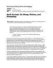 On Sheep, Wolves and Sheepdogs