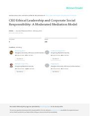 CEO Ethical Leadership and Corporate Social Responsibility