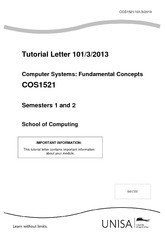 COS1521 Tutorial Letter 101_3_2013