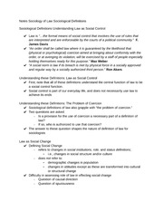 Notes Sociology of Law Sociological Definitions
