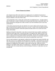 crohns disease essay Daily life with crohn's disease the best way to navigate life with crohn's disease is to seek an effective treatment plan additionally.