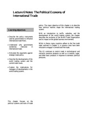 Lecture 6 Notes The Political Economy of International Trade