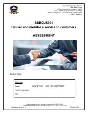 Assessment - Deliver and monitor a service to customers - BSBCUS301.pdf