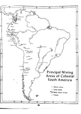 Principle Mining Areas of Colonial South America Map