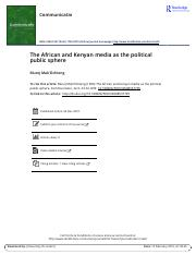 The African and Kenyan media as the political public sphere.pdf