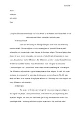 compare and contrast christianity and islam nature of the  8 pages rels 201 final copy reearch essay islam christianity 8 pages