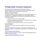 Guide to Executive Summary