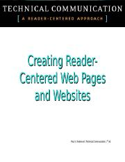 Creating  Reader_Centered Websites and Web Pages.ppt