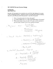 Exam 1 Solution on Thermal Systems Design