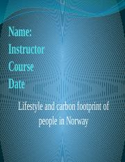 Lifestyle and carbon footprint of people in Norway