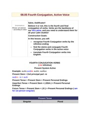 08.05 Fourth Conjugation, Active Voice
