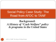 Background - AFDC & Am welf politics - 2010