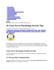Linux Server Hardening Security Tips