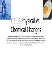 05.05 Physical vs. Chemical Changes