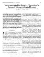 An Assessment of the Impact of Uncertainty onAutomatic Generation Control Systems