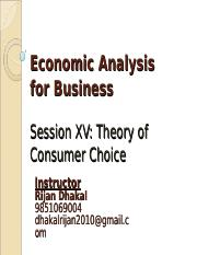 Session15-Theory of Consumer Behaviour- I