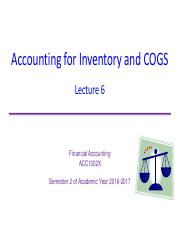 Lecture 6 Inventory and COGS WITH SOLUTIONS