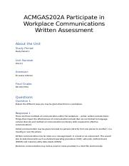 Unit 1 ACMGAS202A Participate in Workplace Communications Written Assessment.docx