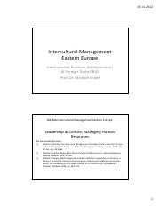 Intercultural Management Eastern Europe Session 6