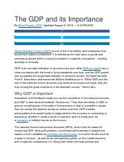 The GDP and its Importance