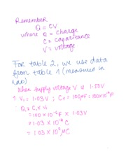 Calculations for capacitance lab