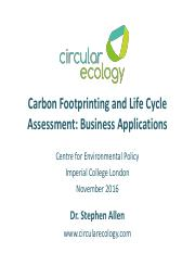 Allen SR_2016_Carbon Footprinting and LCA - Business Applications