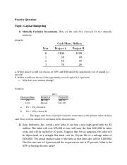 solution of Assignment no 1 (Capital Budgeting)