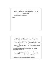 Gibbs Energy and Fugacity of Mixtures